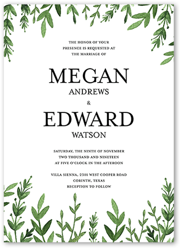 Serene Love Wedding Invitation, Square Corners