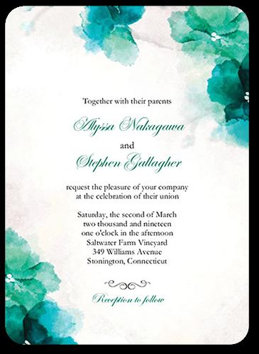 Soft Bougainvillea Wedding Invitation, Rounded Corners