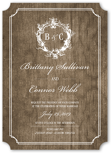 Classy Crest Wedding Invitation, Ticket Corners