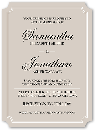 Elegant Love Affair Wedding Invitation, Ticket Corners