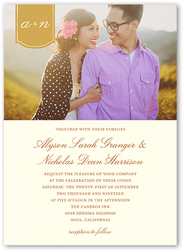 Romantic Tab Wedding Invitation, Square Corners