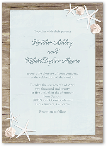 Sweet Starfish Wedding Invitation, Square Corners