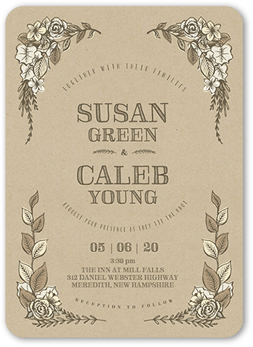 Rustic Affair Wedding Invitation, Rounded Corners