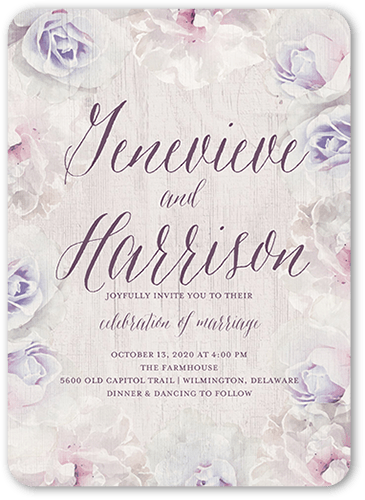 Storybook Roses Wedding Invitation, Rounded Corners