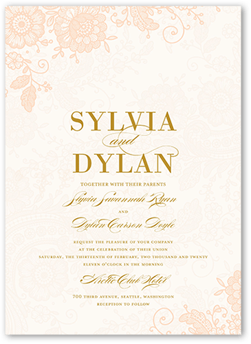 Elegant Beauty Wedding Invitation, Square Corners