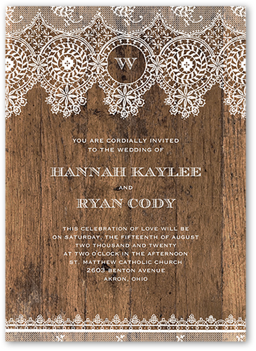 Barnwood And Lace Wedding Invitation, Square Corners
