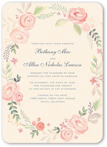 Floral Wash Wedding Invitation, Rounded Corners