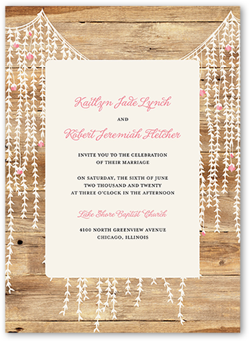 Rustic Floral Garland Wedding Invitation, Square Corners