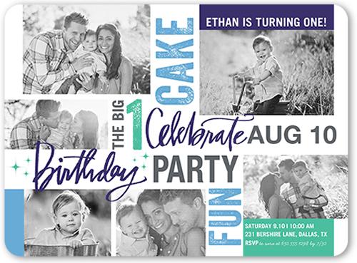 Time For Cake Boy Birthday Invitation