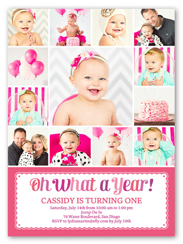 What a year girl first birthday invitation shutterfly front filmwisefo