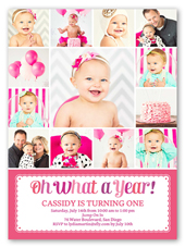 4 Photo Girl First Birthday Invitations Shutterfly