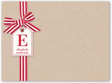 striped ribbon notes thank you card 6x8 flat