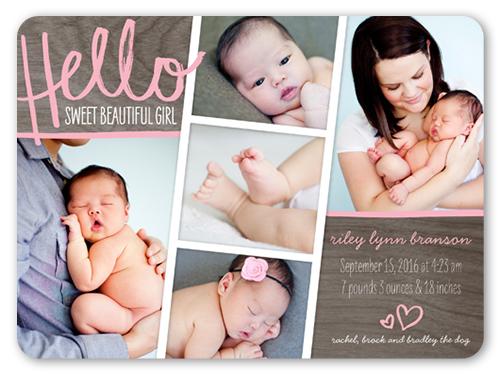 hello sweet 6x8 girl birth announcement card shutterfly