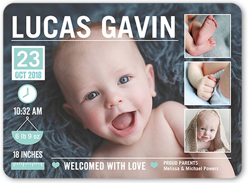 Baby Info Boy Birth Announcement