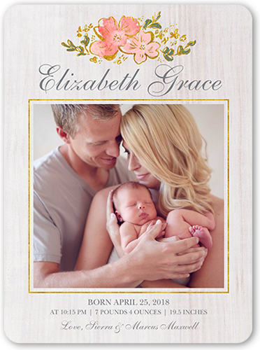 Floral Bundle Of Joy Birth Announcement