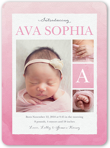 Gradient Watercolor Girl Birth Announcement