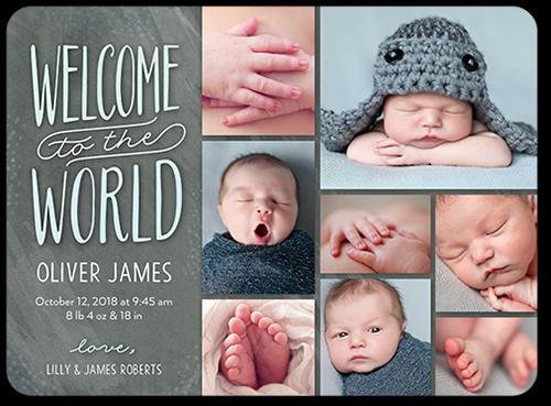 Welcome World Boy Birth Announcement