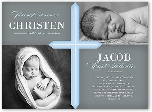 Glorious Cross Boy 6x8 Christening Invitations