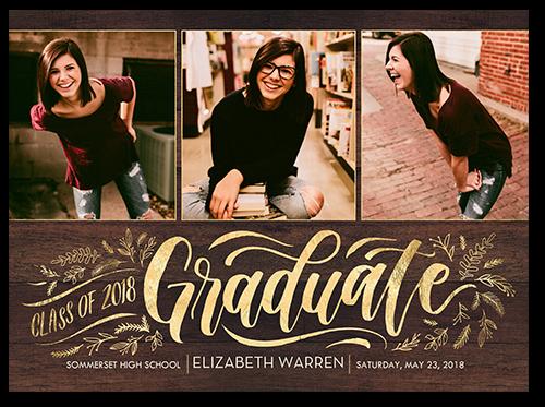 Scripted Filigree Graduation Announcement, Square Corners