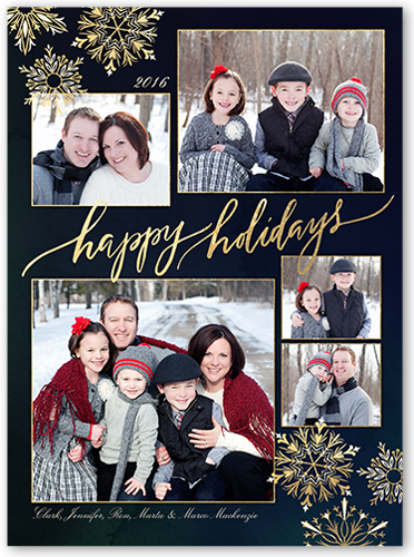 Ornate Snowflake Frames Holiday Card