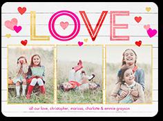 woodgrain love valentines card 6x8 flat