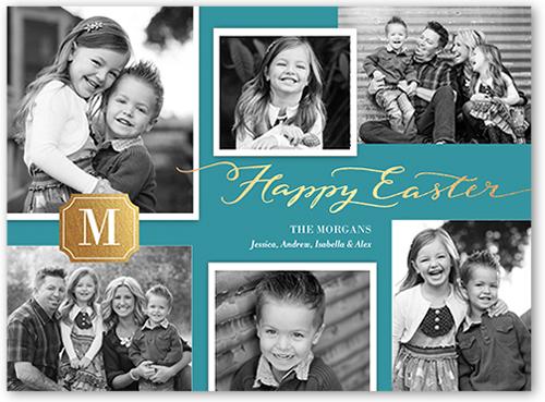 Monogram Collage Easter Card, Square Corners