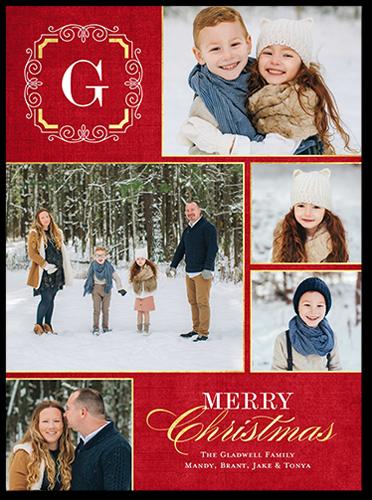 Swirled Monogram Christmas Card, Square Corners