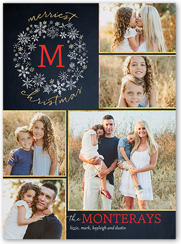Frozen Flurry Monogram Christmas Card, Square Corners