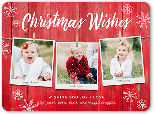 Rustic Hanging Wishes Christmas Card