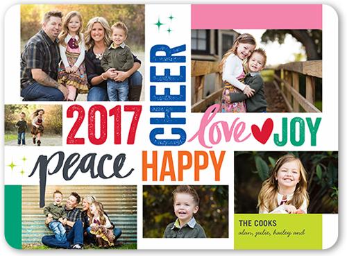 Peace Cheer Love New Year's Card