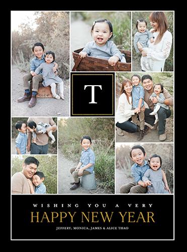 Happy Wishing Monogram New Year's Card