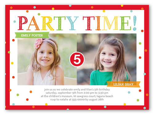 Bright Party Time Twin Birthday Invitation, Square Corners