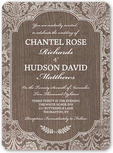 Kraft Damask Wedding Invitation, Rounded Corners