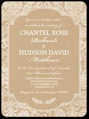 kraft damask wedding invitation 6x8 flat