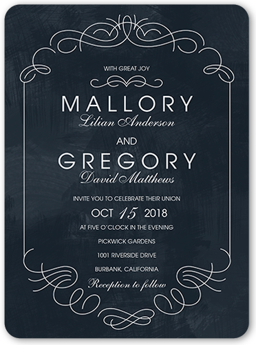 Elegant Embellishments Wedding Invitation, Rounded Corners