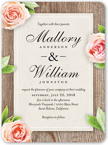Love Blooms Wedding Invitation, Rounded Corners