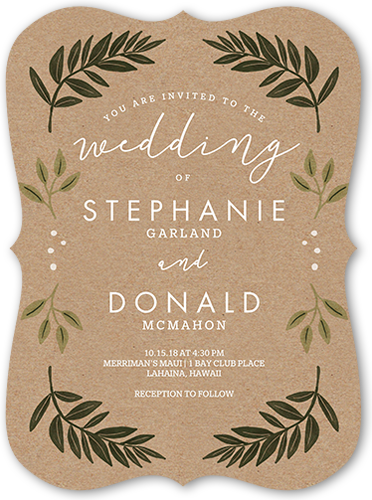 Botanical Kraft Wedding Invitation, Bracket Corners