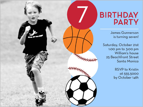 Having a ball 4x5 personalized birthday invitation for Sports program template free