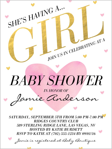 Celebrating A Girl Baby Shower Invitation, Square