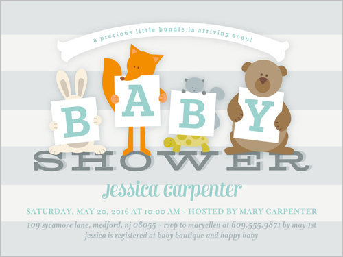Baby Sign Boy Baby Shower Invitation, Square