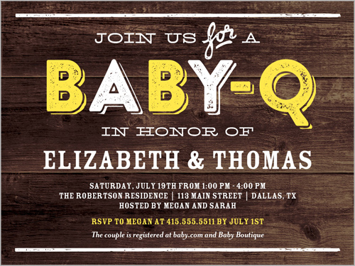 Baby-Q Party Baby Shower Invitation, Square