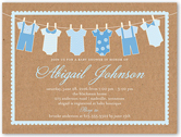 clothes line boy baby shower invitation 4x5 flat