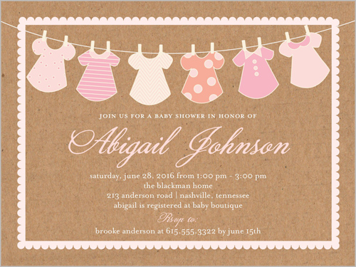Clothes Line Girl Baby Shower Invitation, Square