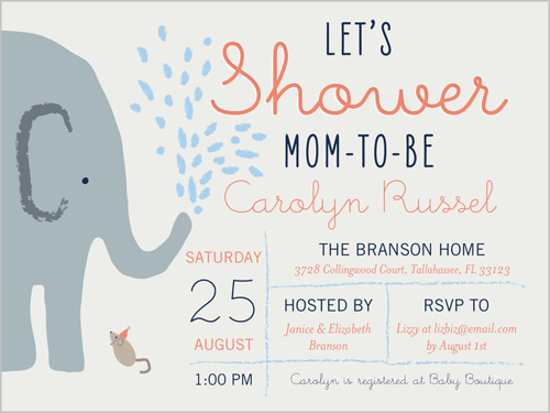 Elephant shower boy 4x5 greeting card baby shower invitations elephant shower boy baby shower invitation visible part transiotion part front filmwisefo Images