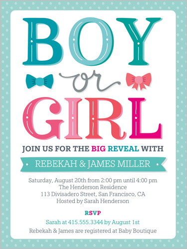 The Big Reveal Baby Shower Invitation, Square