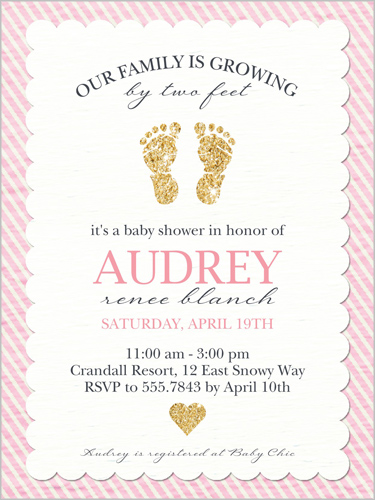 glittering baby girl 4x5 stationery card | baby shower invitations,
