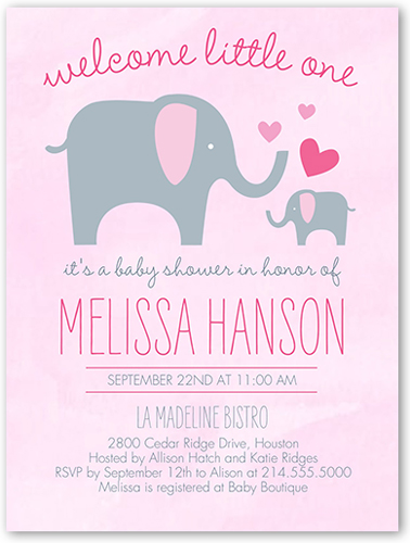 Sweet elephant custom baby shower invitations shutterfly elephant girl baby shower invitation visible part transiotion part front filmwisefo