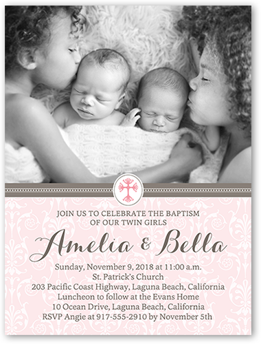 Faithful Damask Twin Girls Baptism Invitation by Blonde Designs