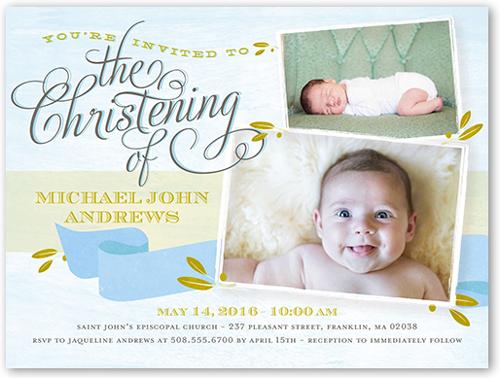 Precious Moment Boy 4x5 Christening Invitations