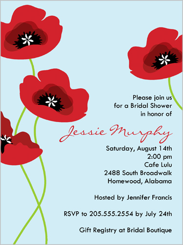 Placid Poppies Powder Bridal Shower Invitation